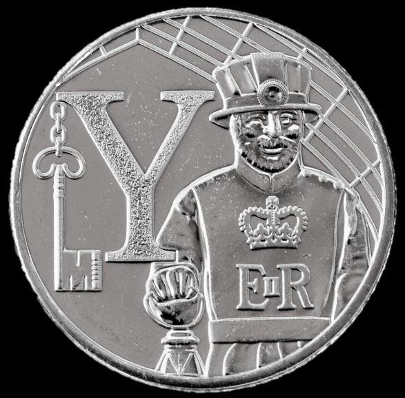 Moeda 10 Pence Série Alfabeto Letra Y de 2018 - Yeoman Warder